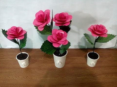 DIY# 46 LOVELY ROSE MADE OF RECYCLED PAPER CUPS