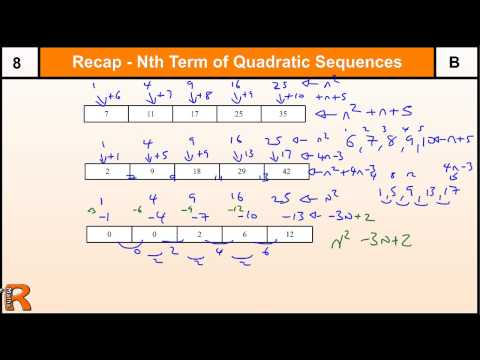 How to do Nth term of a Quadratic sequence, GCSE Maths revision and practice