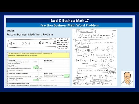 Excel & Business Math 17: Solve Fractional Business Math Problems using Excel