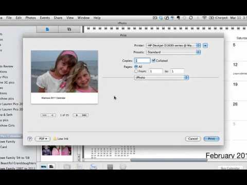 Print your own calendar in iPhoto '11