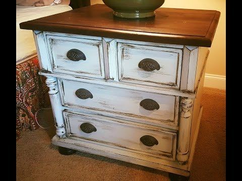 Easiest faux finish EVER!  vanity, dresser DIY makeover: distressed finish