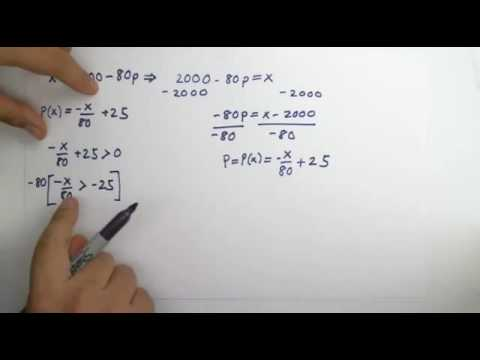 Find the revenue function and the price function x=2000-80p