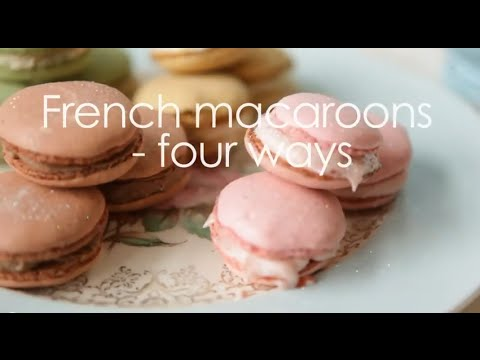 How to make macarons video - Recipe for four flavours in one