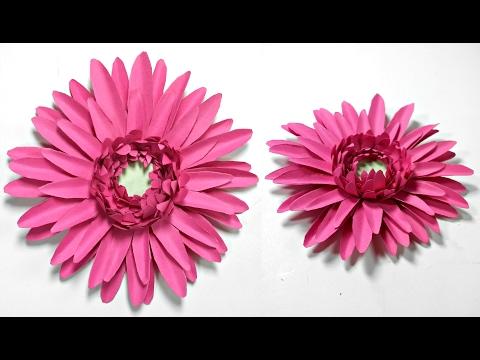 Gerbera daisy paper flower diy tutorial.Paper flowers easy for children, for kids,for beginners