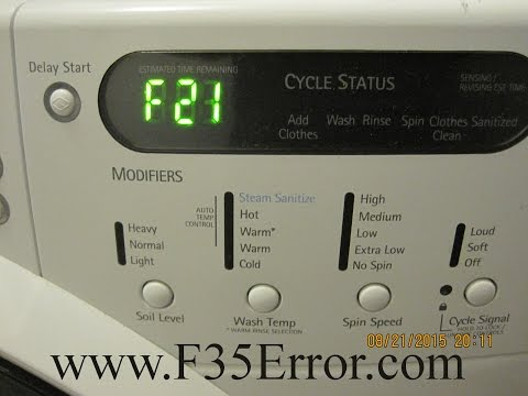 F21 Error – Kenmore Elite HE3T Steam Washer – What To Do