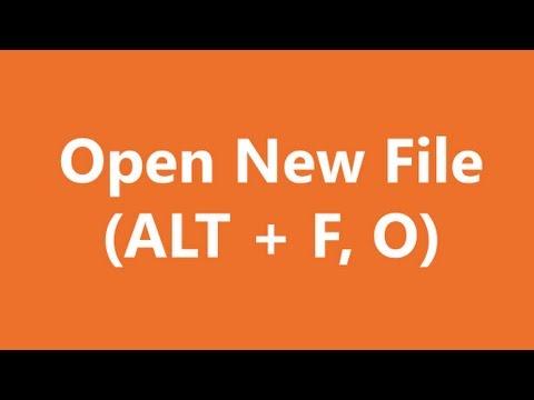 Excel Shortcuts - Open File