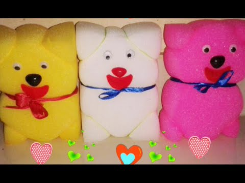 How to make a sponge teddy bear , simple sponge doll ;craft for kids