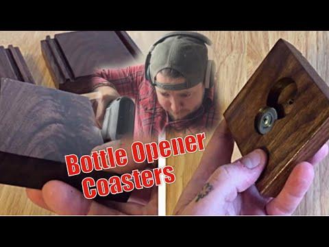 Reclaimed Wood Bottle Opener Coasters