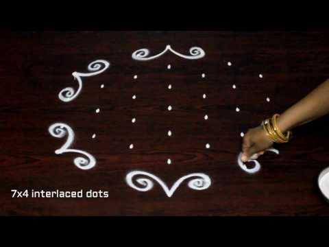 muggulu designs with 7x4 dots || simple kolam designs || easy rangoli  art designs