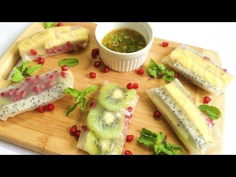 Fruit Rice Paper Spring Rolls | Rainbow Fruit Spring Rolls | Fruit Wraps