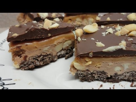 Four Layer Nougat Bars (peanut butter, caramel, chocolate!) Recipe - No Bake