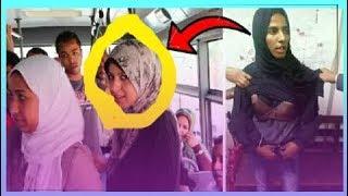 شاهد قبضوا شاب يرتدي ملابس فتيات ويقف وراءهم في المترو.!!