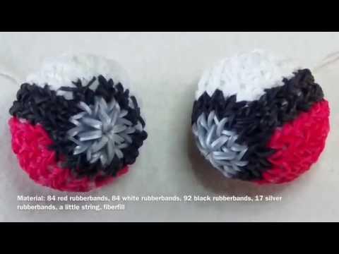 Rainbow Loom 3D Pokeball with english subtitle - Lachtaeubchen Loom