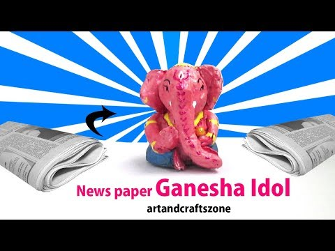 Newspaper Ganesha Idol Making without Glue  | Ganesh Murti making At home