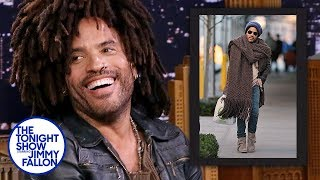 Lenny Kravitz Reacts to His Giant Scarf Meme