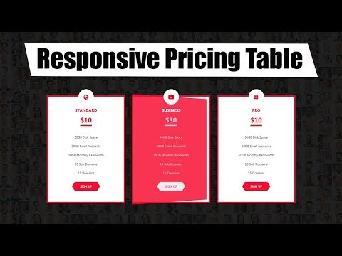 Responsive Pricing table in html 5 || website design