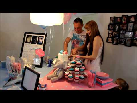 Cutting the Cake for our Baby Gender Reveal Party