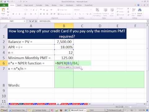 Excel Finance Class 39: How Long To Pay Off Credit Card With Minimum Payment