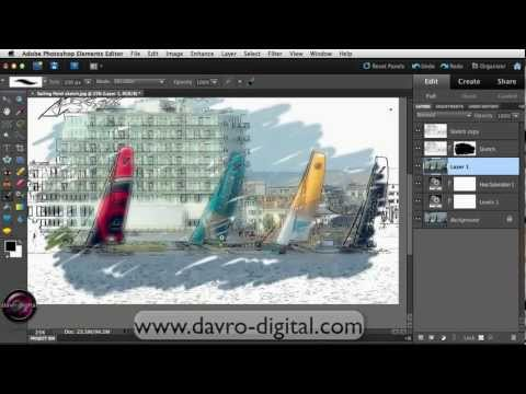 Painterly sketch effect in Photoshop Elements