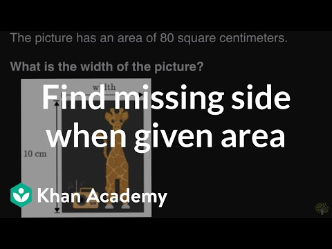 Finding missing side when given area | Math | 3rd grade | Khan Academy