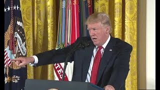 President Donald Trump Surprises Medal of Honor Recipient when He Points Out Some One in the Crowd