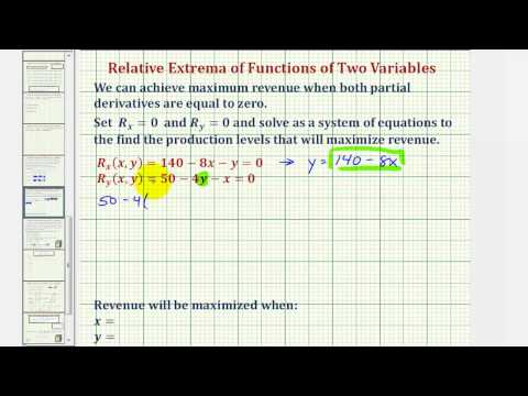 Ex: Determine the Quantity to Maximize Revenue -  Function of Two Variables