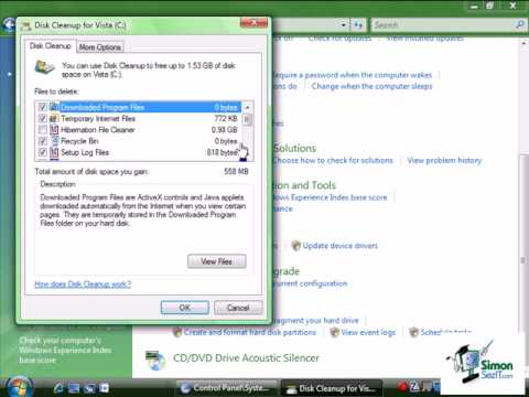 Using the Free Up Disk Space Tool in Windows Vista