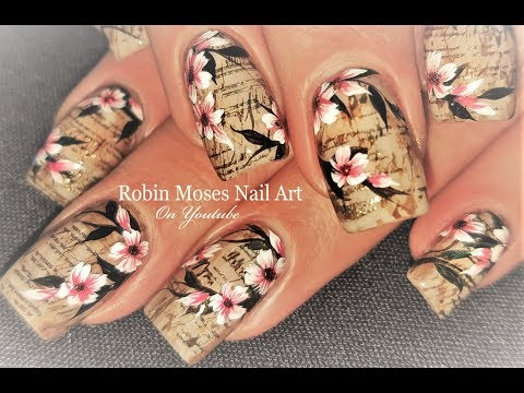 Faux Vintage Newsprint and Flowers Nails   Antique Nail Art Design Tutorial