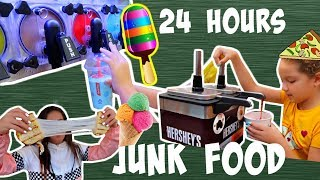 EATING JUNK FOOD AT THE GAS STATION FOR 24 HOURS | SISTER FOREVER