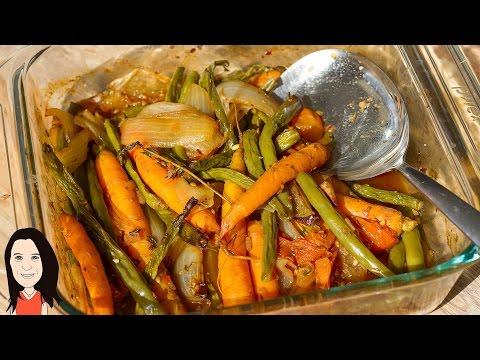 Oil Free Oven Roasted Garden Vegetables with Instant Sauce!