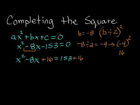 How to Complete the Square , Completing the Square Example