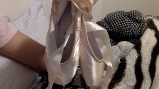 Me Breaking in and preparing my Grishko Pointe shoes