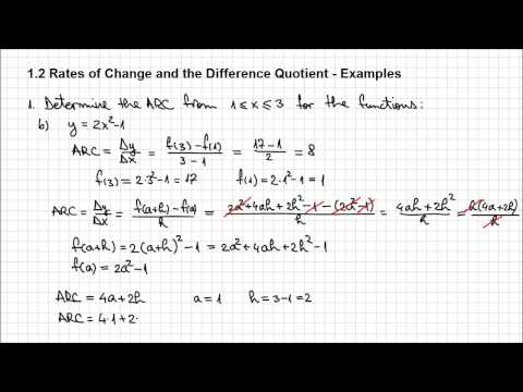 1.2. Rates of Change and the Difference Quotient - Example 1