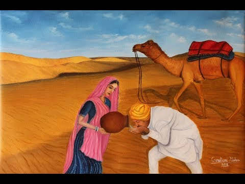Oil Painting tutorial Part 1- Desert Camel and Figurative Rajasthani Woman and Man by Goutami Mishra