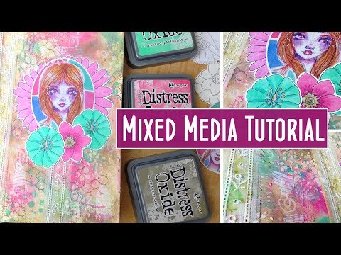 Distress Oxide, Stamps and Stencils - Mixed Media Art Journal Page Tutorial -  Creative Collage Ep 2