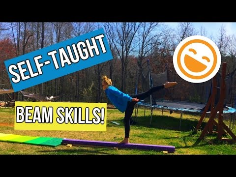 Self-taught Beam Skills! | homemade balance beam
