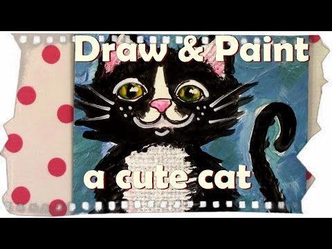 How to paint a Cat with acrylics | Journaling ideas | how to Draw a cat | ilove2paint AyalaArt
