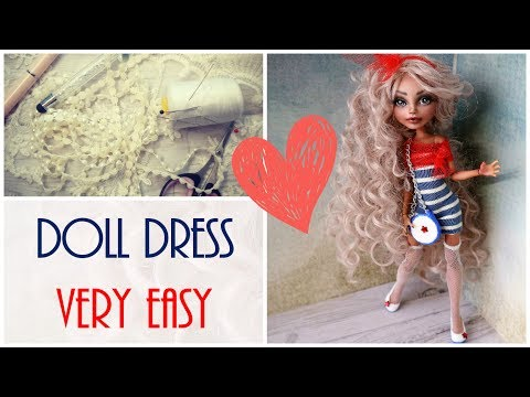 How To Make Doll Dress Very Easy for Monster High, Babie / DIY Handmade Fashion Tutorial