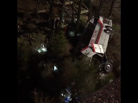 1 dead, dozens injured bus with students falls off I-10 into ravine