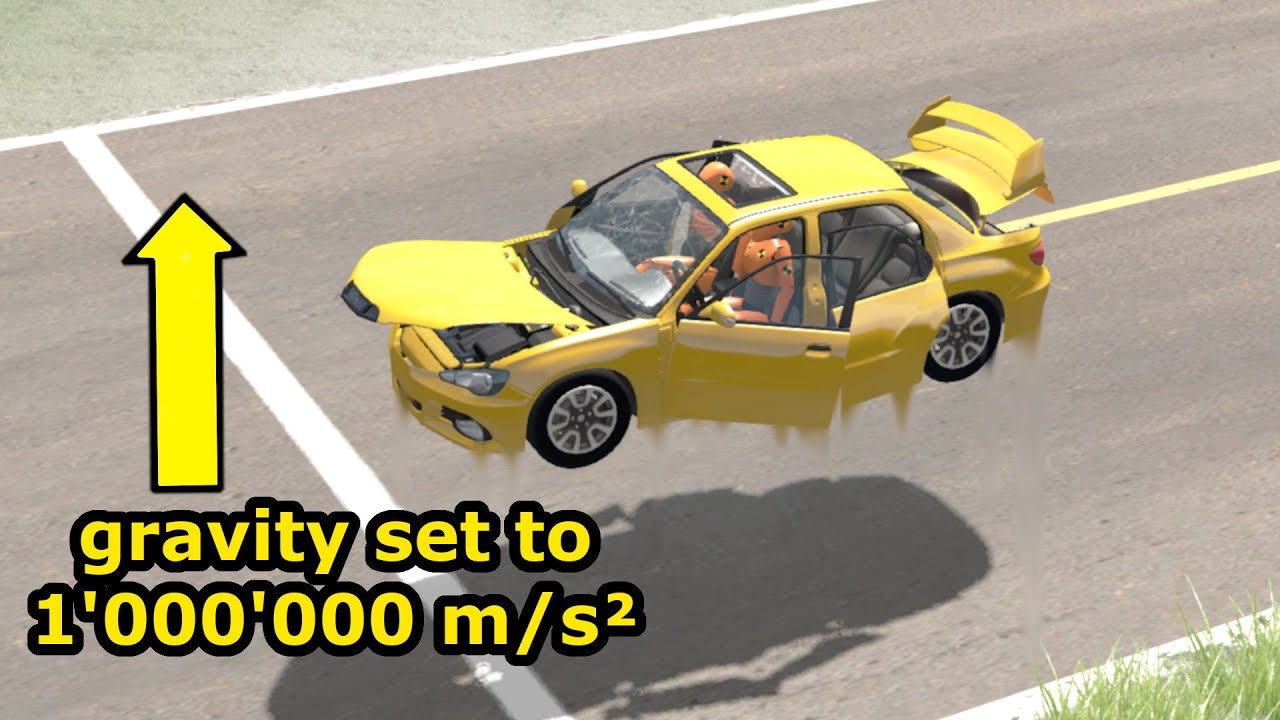 I set Gravity to +1'000'000 m/s² and this happened - beamng drive (1 million subs special)