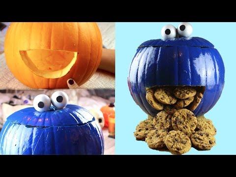 DIY Cookie Monster Pumpkin- Halloween 2015!