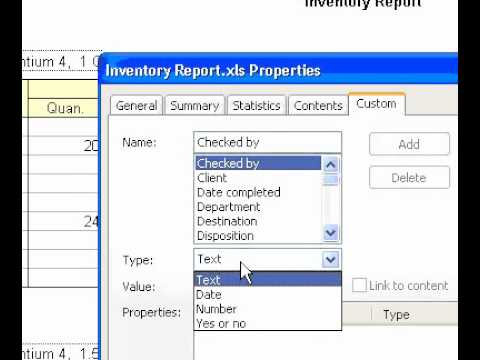 Microsoft Office Excel 2003 Create custom file properties for the active workbook