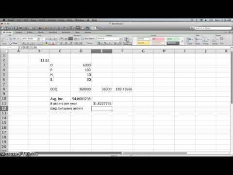 Inventory Economic Order Quantity EOQ