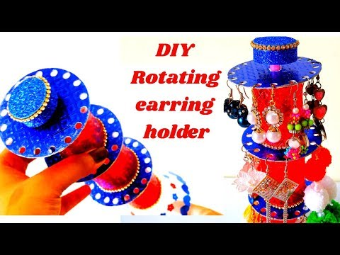 DIY Rotating Earring Holder || DIY Jewellery Organizer Ideas || Best Out Of Waste ||