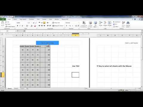 Put Header to multiple sheets | MS Excel
