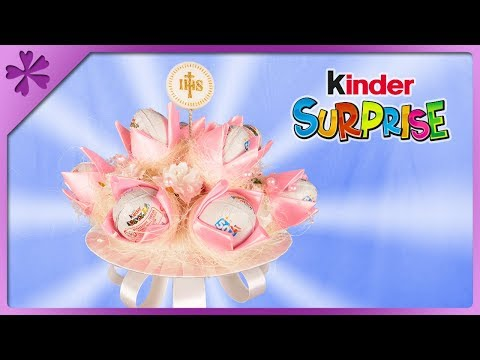 DIY How to make bouquet out of Kinder Surprise eggs (ENG Subtitles) - Speed up #483