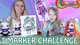 3 MARKER CHALLENGE - POOPSIE SURPRISE UNICORNS! MOM VS DAUGHTER!