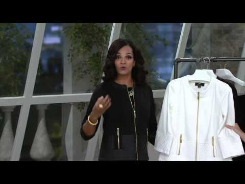 Dennis Basso Ponte Cropped Jacket with Quilted Faux Leather Trim on QVC