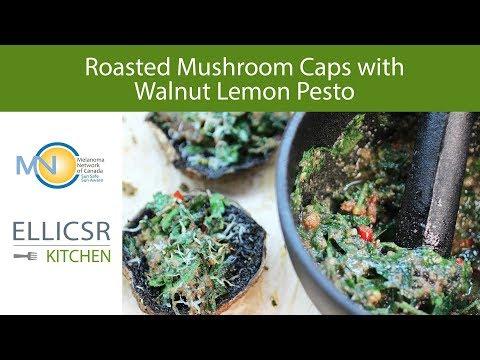 Roasted Mushroom Caps with Walnut Lemon Pesto