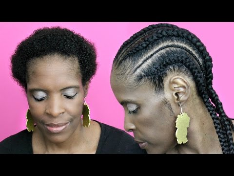 Feed in Cornrows with Extensions on Short Hair► Natural Hair TWA